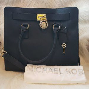 Navy/gold Michael Kors Hamilton Large Tote